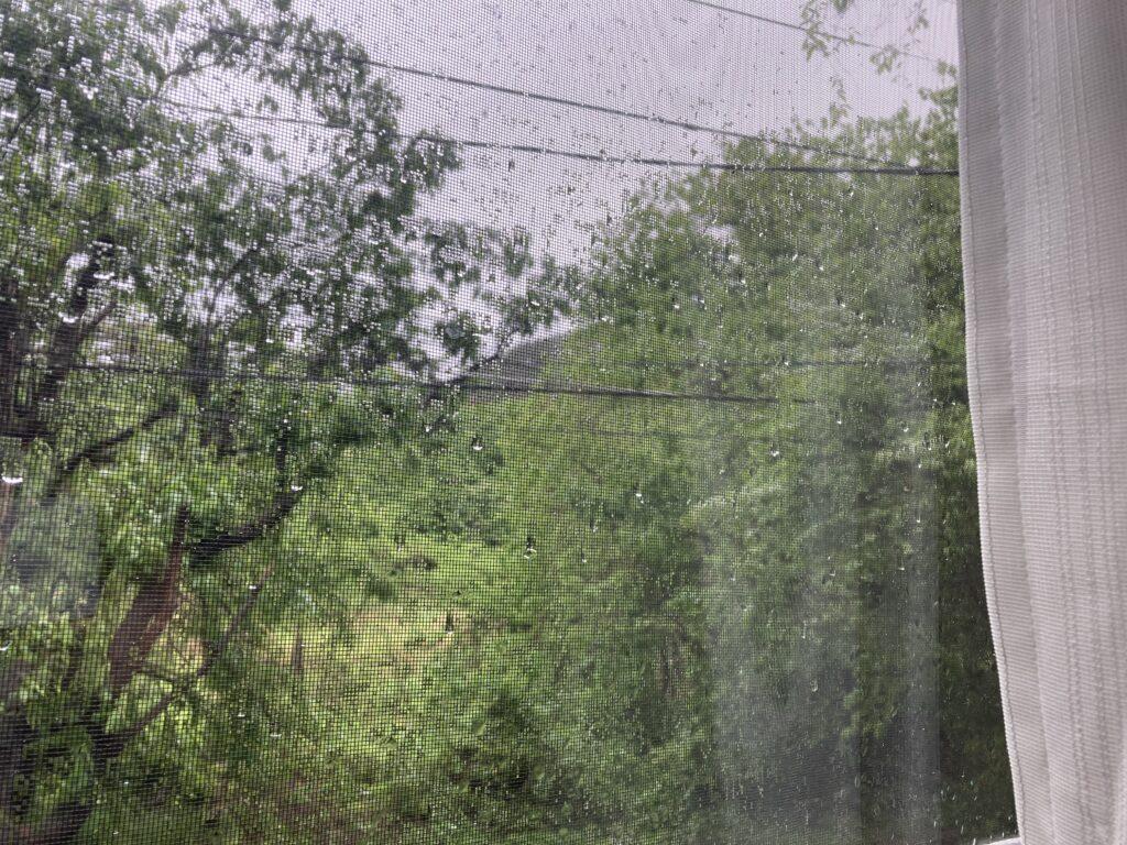 山小屋の雨漏り