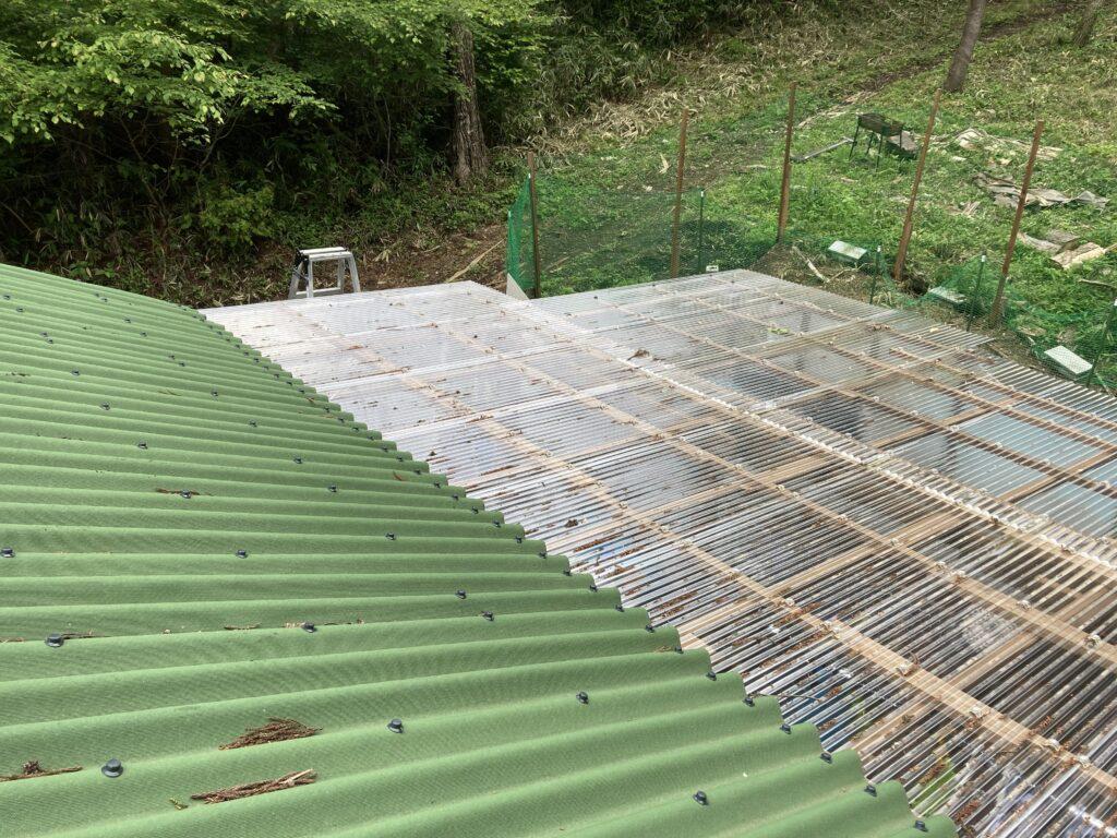 山小屋の雨漏り修理